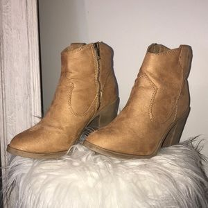 Divided by H&M Tan Suede Cowgirl Booties